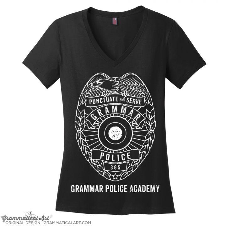 academy v neck black