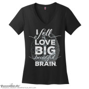 beautiful brain v neck black