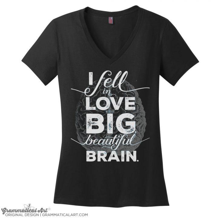 beautiful brain v neck black