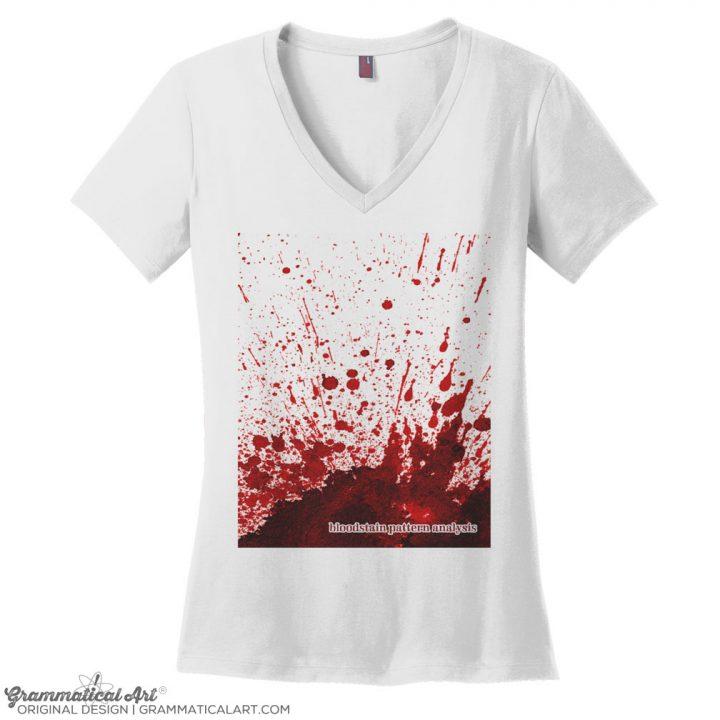 bloodstain v neck white
