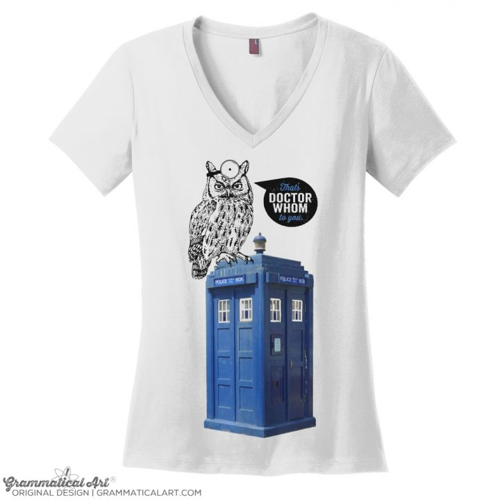 dr whom v neck white NO TURQ