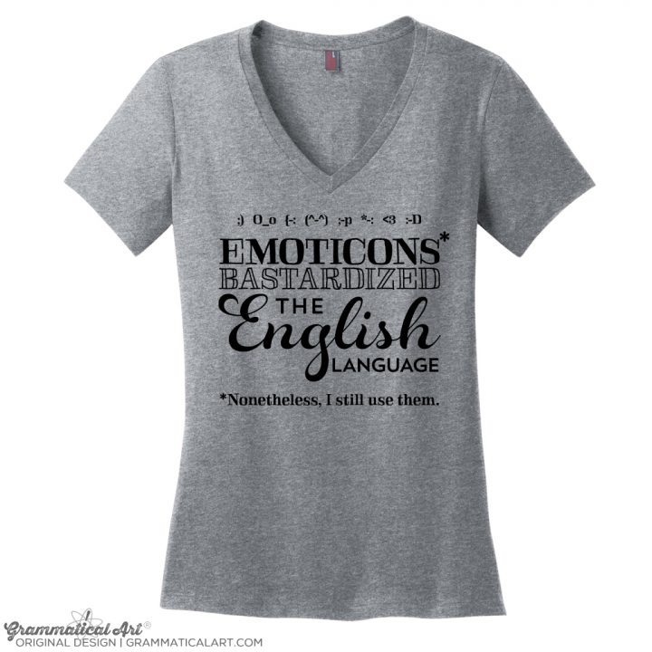 emoticons v neck gray