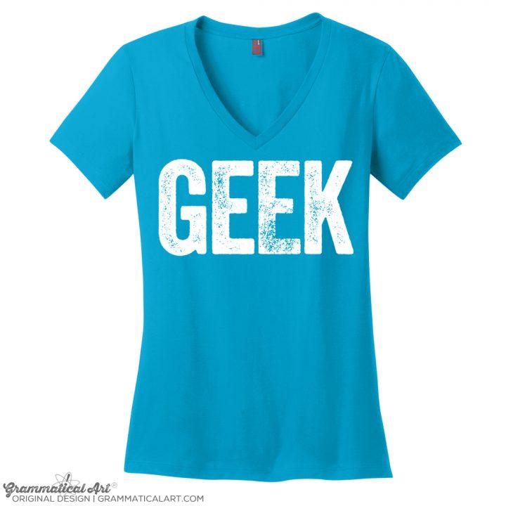 geek v neck turq