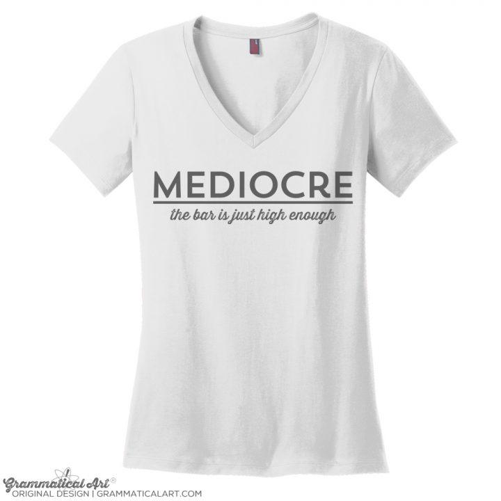 mediocre v neck white