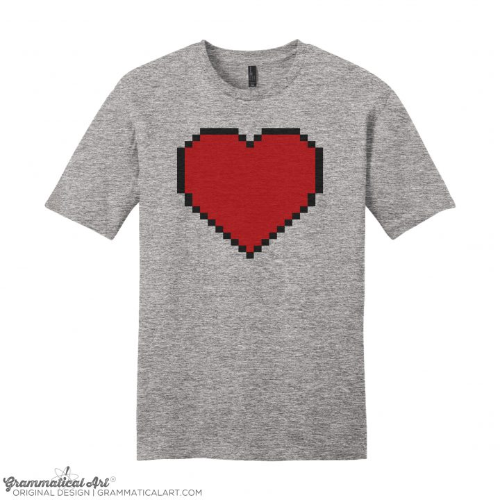 mens 8 bit heart h gray