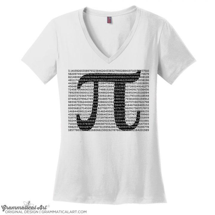 pi digits v neck white