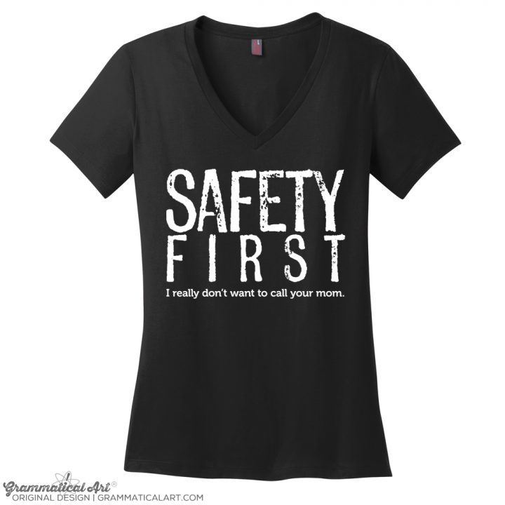 safety v neck black
