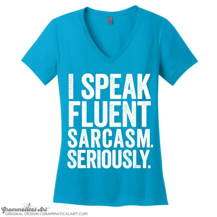sarcasm white v neck turq OKAY WHITE