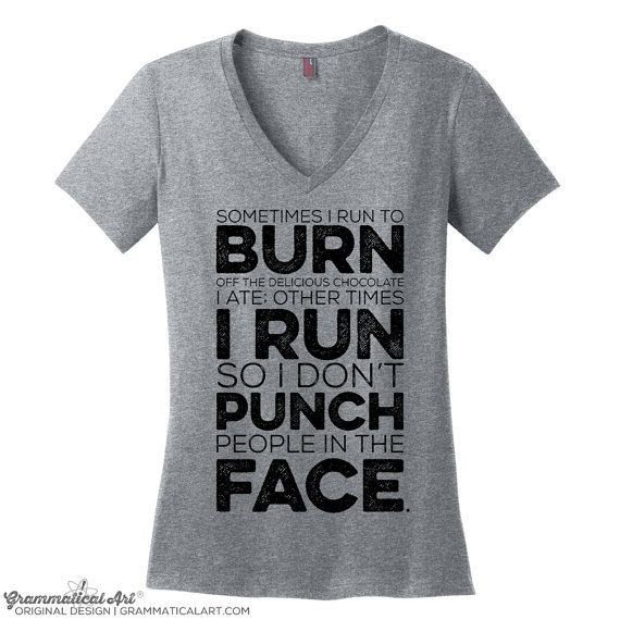 Running Shirt, Sometimes I Run Shirt, Chocolate Running Shirt, Punch People Running